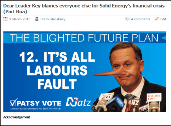 Dear Leader Key blames everyone else for Solid Energy's financial crisis - nicky hager - cameron slater - john key - dirty politics (1)