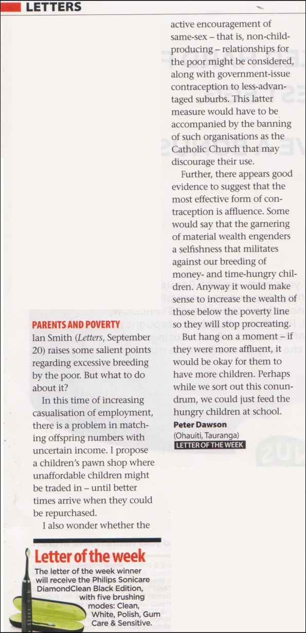 letter to editor - the listener - Peter Dawson - child poverty - 27 september 2014