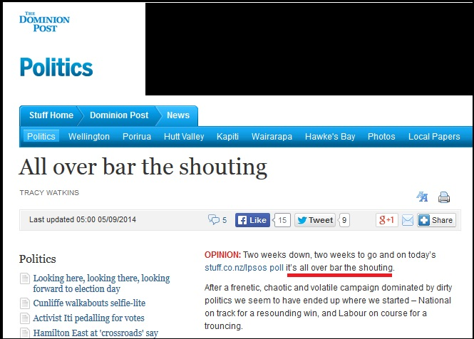 tracy watkins - dominion post - fairfax news - all over bar the shouting