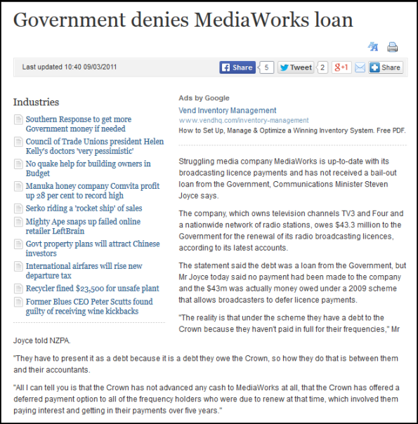 Government denies MediaWorks loan