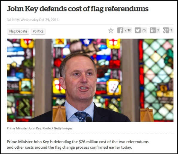 John Key defends cost of flag referendums