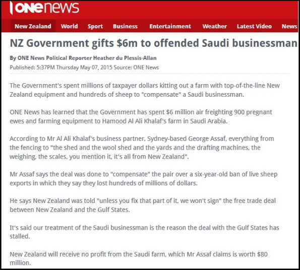 NZ Government gifts $6m to offended Saudi businessman