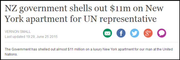NZ government shells out $11m on New York apartment for UN representative