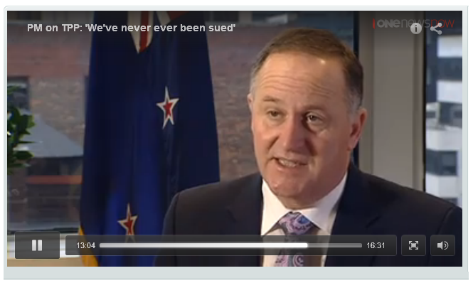 "4 October 2015 - TVNZ Q+A @ 13.04 ""There has never been a case taken against New Zealand..."" @ 16.24 ""We've never, ever been sued..."""