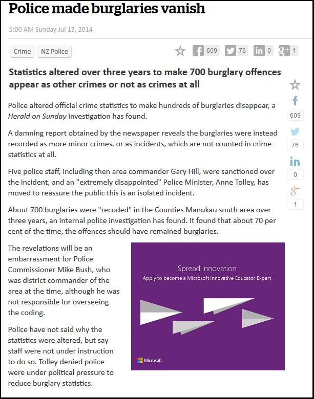 Police made burglaries vanish - greg o'conner - national - crime statistics