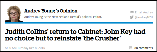 Judith Collins' return to Cabinet - John Key had no choice but to reinstate 'the Crusher' - NZ Herald
