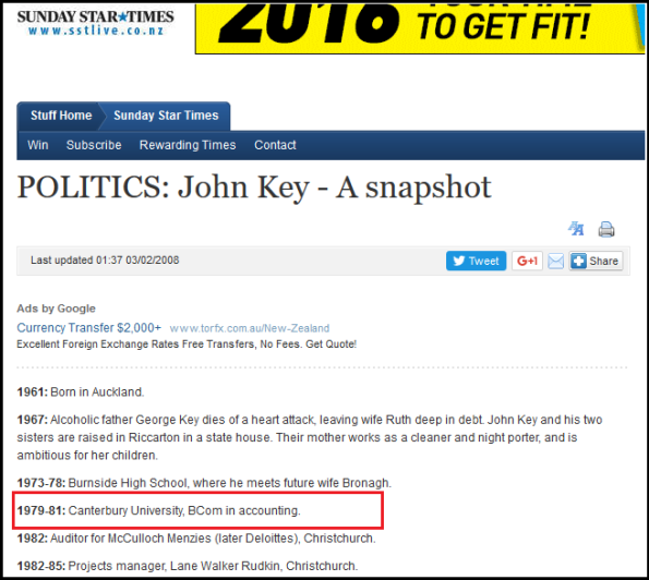 POLITICS - John Key - A snapshot - tertiary university education - free education