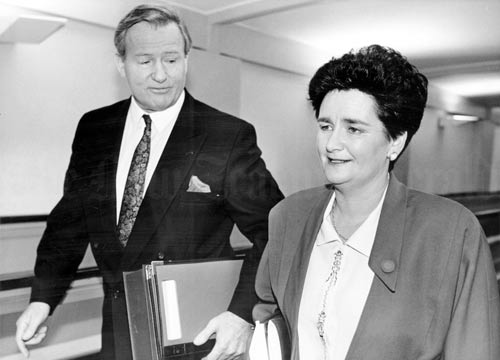 Prime Minister Jim Bolger and Finance Minister Ruth Richardson make their way to the House of Representatives for the presentation of the 1991 budget. Richardson was from the radical wing of the National Party, which promoted individual liberty and small government. This was reflected in the budget, which severely cut government spending, including on welfare. Richardson proudly proclaimed her plan as the 'mother of all budgets', but such was its unpopularity among voters that it – along with high levels of unemployment – nearly cost National the next election.