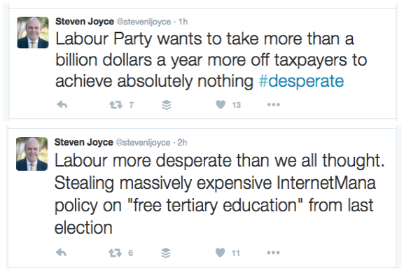 Steven joyce - tertiary education - hypocrite