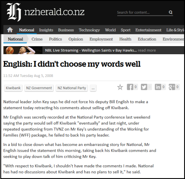 English - I didn't choose my words well - NZ Herald - Kiwibank sale