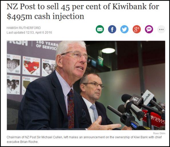 NZ Post to sell 45 per cent of Kiwibank for $495m cash injection