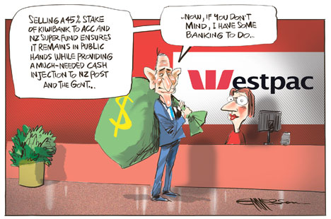 the sale of kiwibank - nz herald cartoon - john key