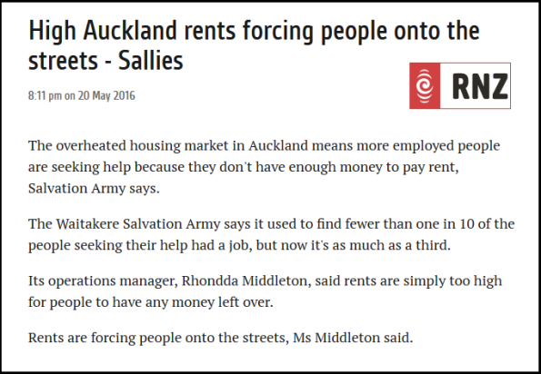 High Auckland rents forcing people onto the streets - Sallies