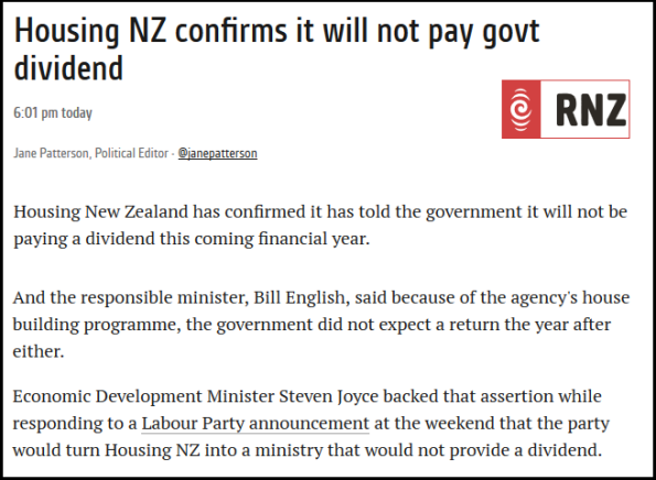 RNZ - Housing NZ confirms it will not pay govt dividend
